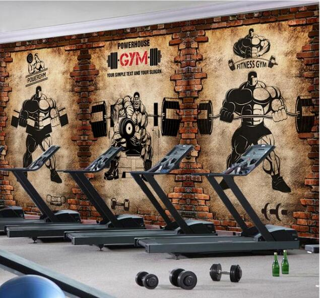 3d Wallpaper Custom 3d Murals Wallpaper 3d Gym Nostalgic Brick Wall Retro Sports Fitness Club Weightlifting Backdrop Wall Decor