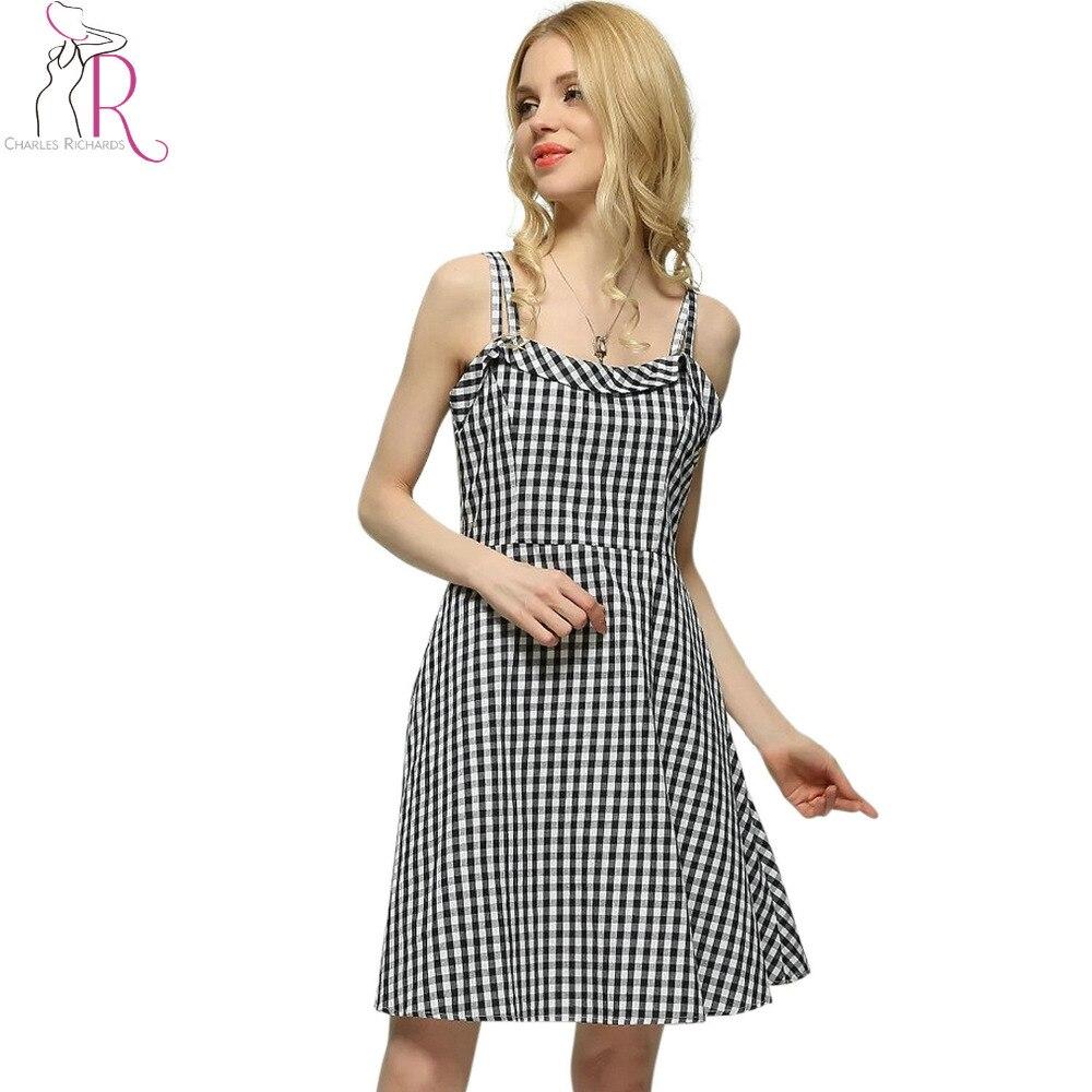 Women High Waist Ruffles Trim Spaghetti Strap Black Plaid Dress Summer Sleeveless A Line Backless Casual High Street Style Wear