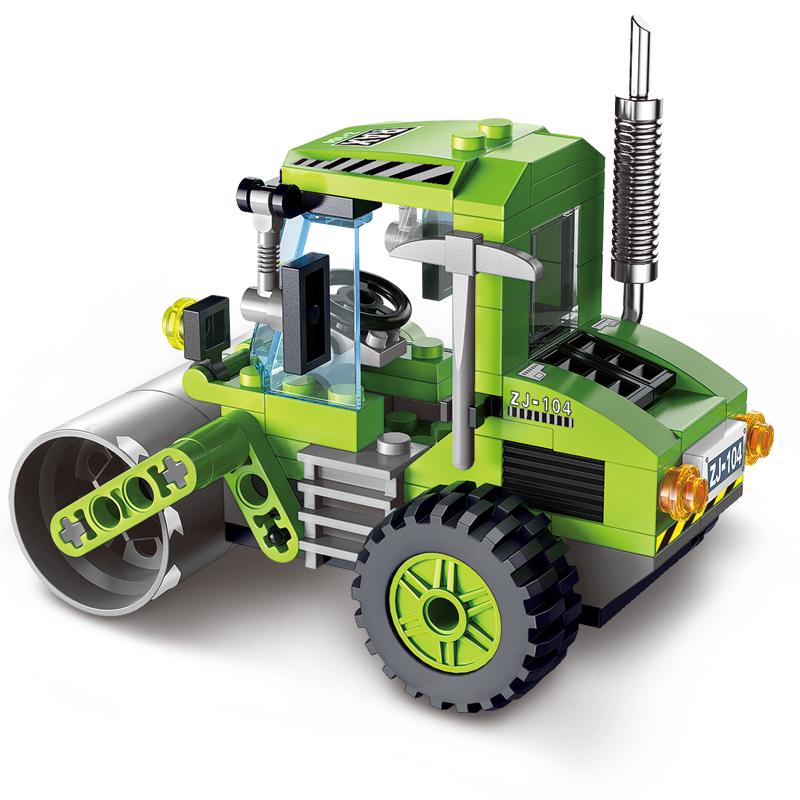 Enlighten 1104 City Series Road Roller Building Blocks City Construction Blocks Worker Toy for Children enlighten city series tractor building blocks compatible with legoe minifigure city construction children educational toy gift