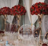 Gold or Silver Wedding flower vase Table Centerpiece 75cm Tall Wedding Decoration 10pcs/lot