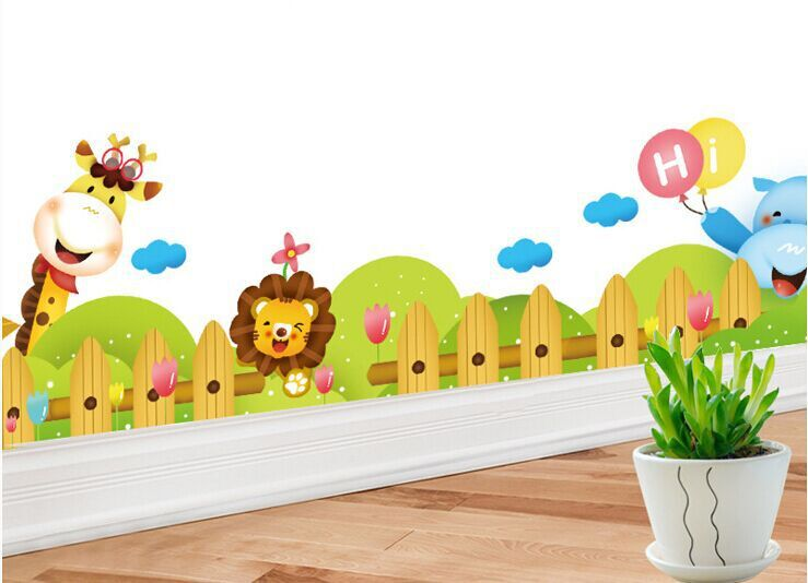 Cartoon giraffe skirting children's room wall animal ...