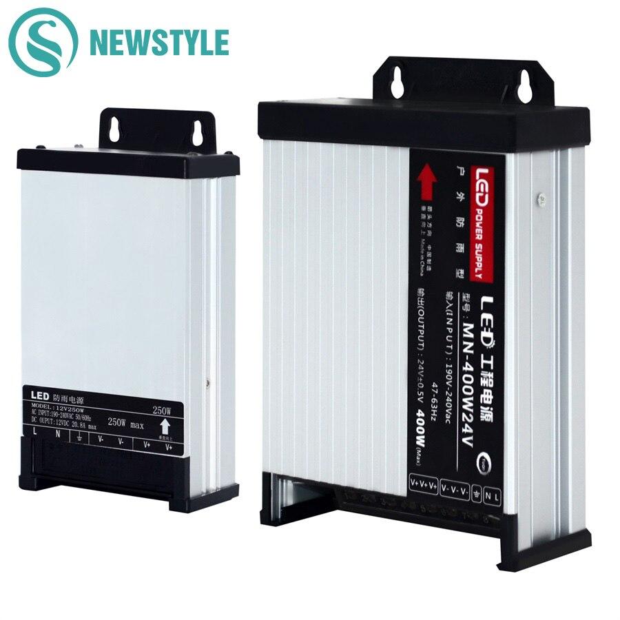 LED al aire libre impermeable de la fuente de alimentación de DC12V 60W 120W 200W 250W 400W DC24V controlador de LED de iluminación transformadores