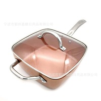 Induction Chef w/Glass Lid Fry Basket, Steam Rack 4 Piece Set, 9.5 inches used in induction copper Square Pan