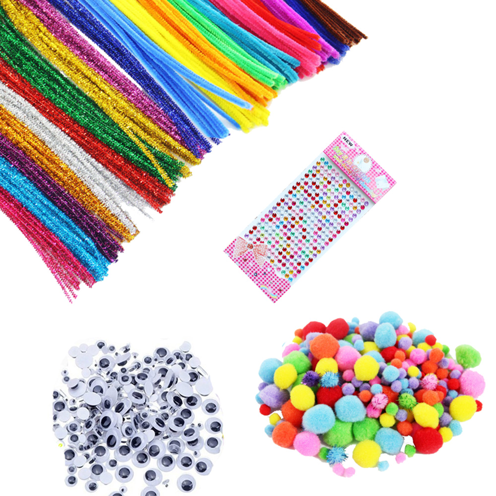 500 pcs Chenille Stems Set Pipe Cleaners Wiggle Googly Eyes Children Kids Plush Crafts Colorful Pipe Cleaner Handmade DIY Craft