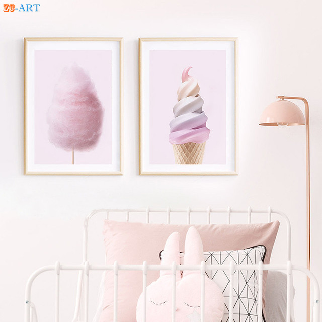 Ice Cream Fairy Floss Cotton Candy Kids Room Posters Pink Wall Art Canvas  Painting Girls Nursery