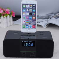 Auto Amplifier Docking System BT Speaker With FM Clock Function Portable Wireless Speaker For Iphone Mobile