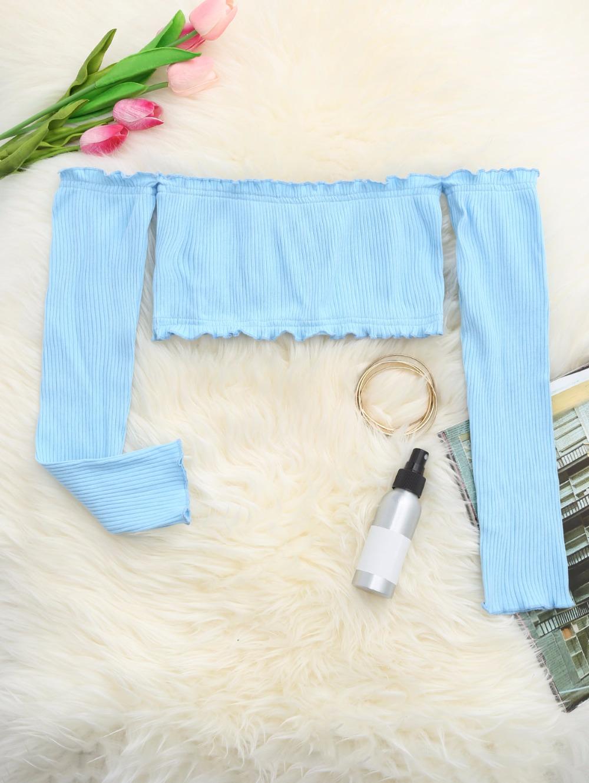 HTB1LJcBRpXXXXXrXVXXq6xXFXXXx - Frilled Off The Shoulder Crop Top Summer Floral Knitted Female Tops JKP006