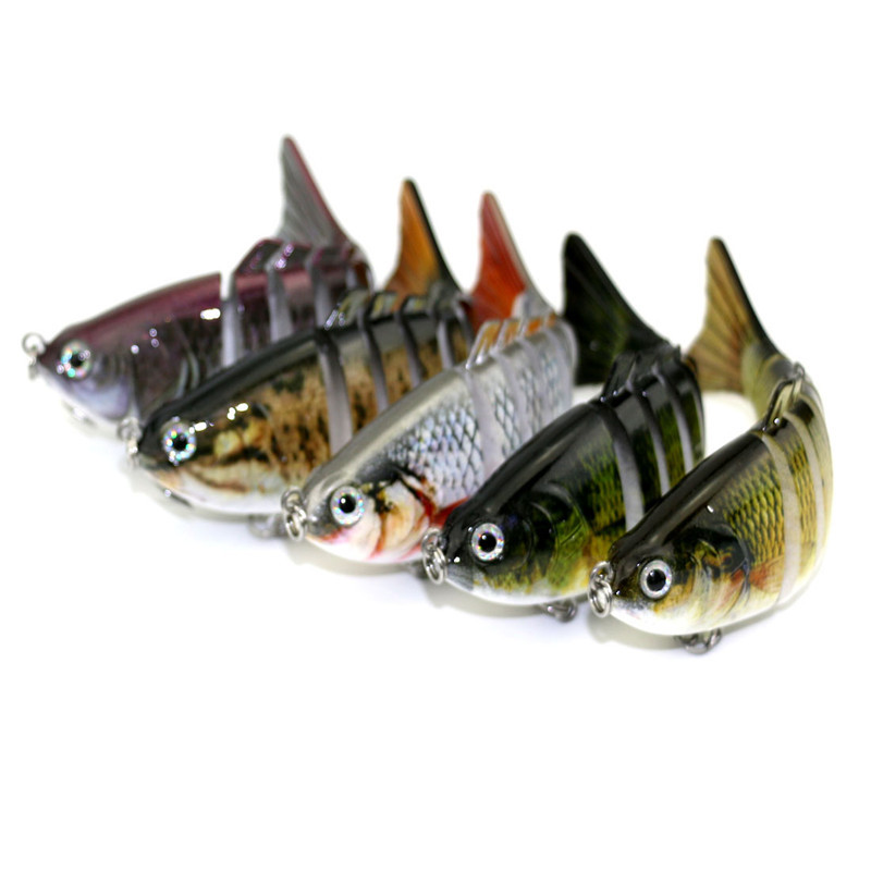 10cm Flexible Hard Bodied Lure 6 Joint Swim Bait Pike Plug Fishing Roach Perch