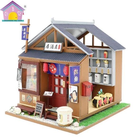 magasin de style japonais pub bricolage maison de poupee casa de boneca maison de poupee modele en bois magasin de jouets avec meubles modele kit