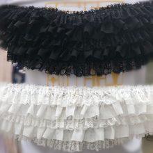Borde de encaje con volantes hecho a mano, accesorios de tela de encaje plisado recorte, 5 capas de gasa negro/blanco