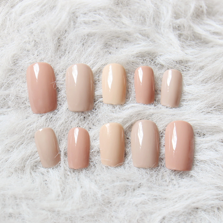 New Sale 3 Nude Colors Fake Nails 24Pcs Long Solid Square unhas for ...