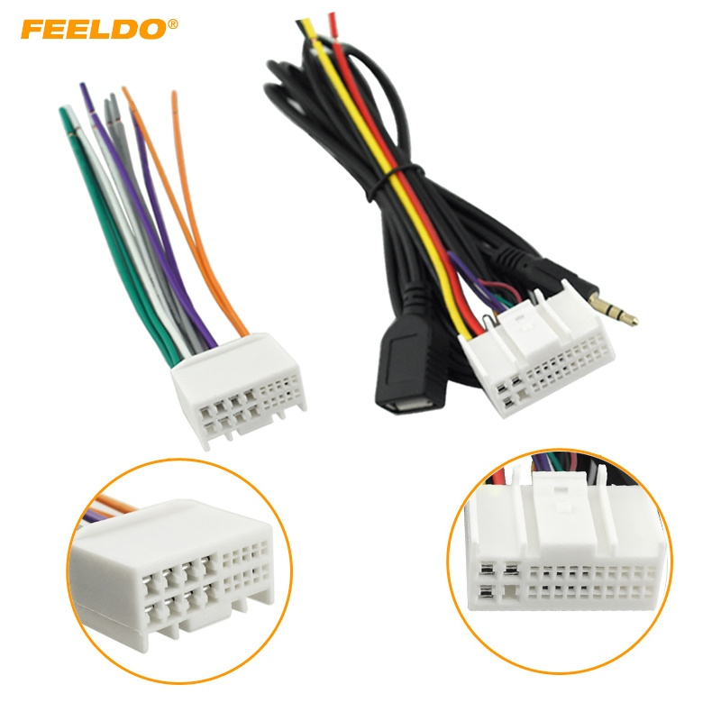 Feeldo 5set Car Audio Cd Stereo Wiring Harness Adapter With Usb  Aux Plug For Hyundai Ix35