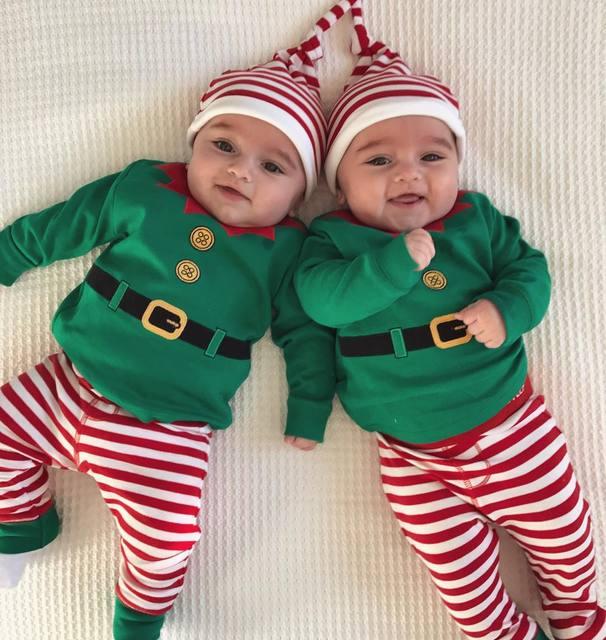 Chapéu Do natal Da Criança Do Bebê Da Menina do Menino Romper Bodysuit Pant Outfits Roupas 3 pcs do xmas do natal Do Bebê da menina do menino roupas definir bebê da menina do menino
