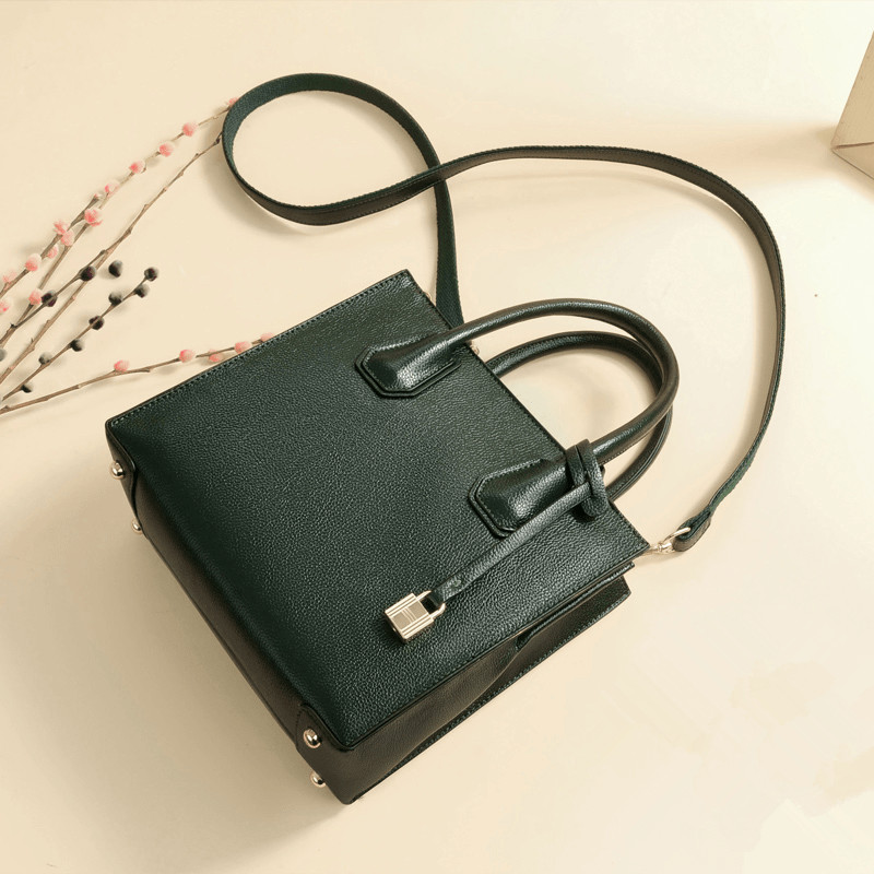 Luxury Brand Women Split Leather Handbags Lady Leather Shoulder Bag Green/Black Tote Bag Lock Design Travel Crossbody Bag Bolsas giaevvi luxury handbags split leather tote women messenger bags 2017 brand design chain women shoulder bag crossbody for girls