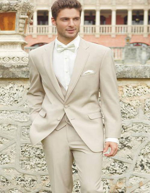 2017 Ivory Wedding Suits For Men Champagne Tuxedo Costume Homme ...