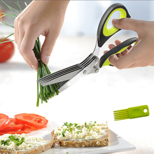 21cm 3/5 Layers Kitchen Scissor Shears Stainless Steel Shredded Chopped Scallion Cutter Onion Herb Laver Spices Scissors Knife