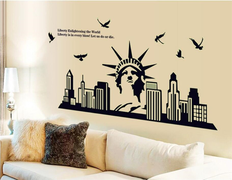 Aliexpress.com : Buy Wall Sticker New York City Night Scene Glow In The  Dark Fluorescent Luminous Statue Of Liberty Bedroom Decor Wall Decals From  Reliable ... Part 49