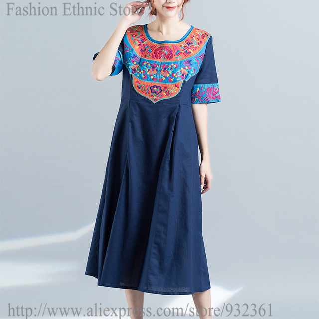 Retro Mexican Ethnic Floral Embroidery Women Dress Bohemian Loose