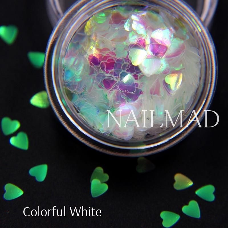 1box NailMAD Лазерлік Nail Sequins Heart Shape Nail Sparkles - Маникюр - фото 4