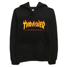 Thrasher громила пламя пуловер хип-хоп толстовка скейтборд человек толстовки капюшоном твердые