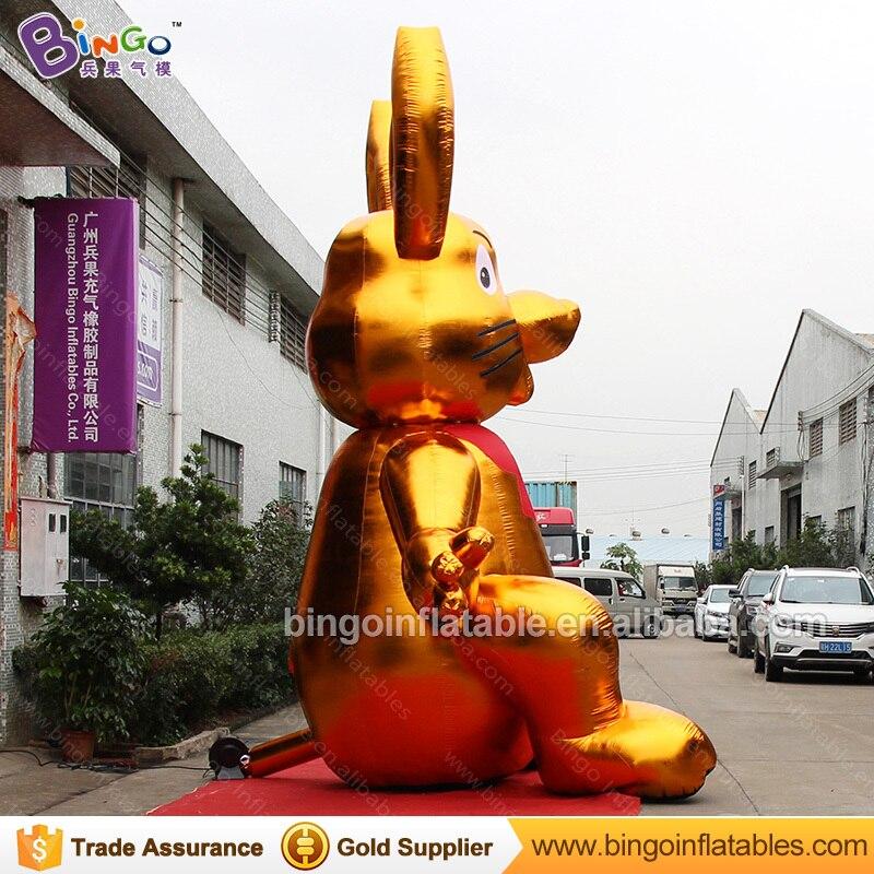 Декоративные 5 метров высокий большой надувной Золотой Кролик индивидуальные цифровой печати гигантский надувной заяц распродажа игрушка ... - 4