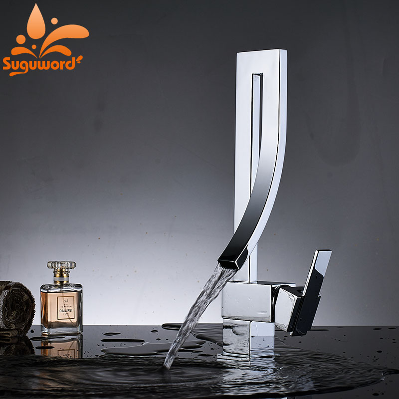 Household Bathroom Basin Faucet Mixer Valve Tap Single Handle Waterfall Faucets Chrome Brass Square Tall Bathroom Sink Faucet lavatory basin faucets waterfall spout single handle bathroom sink vessel faucet mixer tap tall body solid brass chrome finished