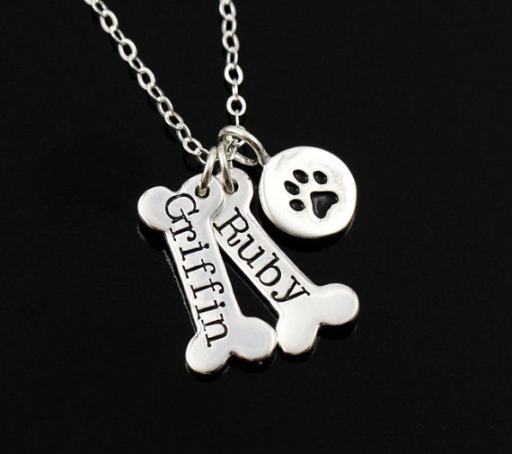 Name Necklace Dog Paw Necklace Personalized Dog Necklace Paw Print Dog Bone Initial Charm Pet Jewelry for gift  1