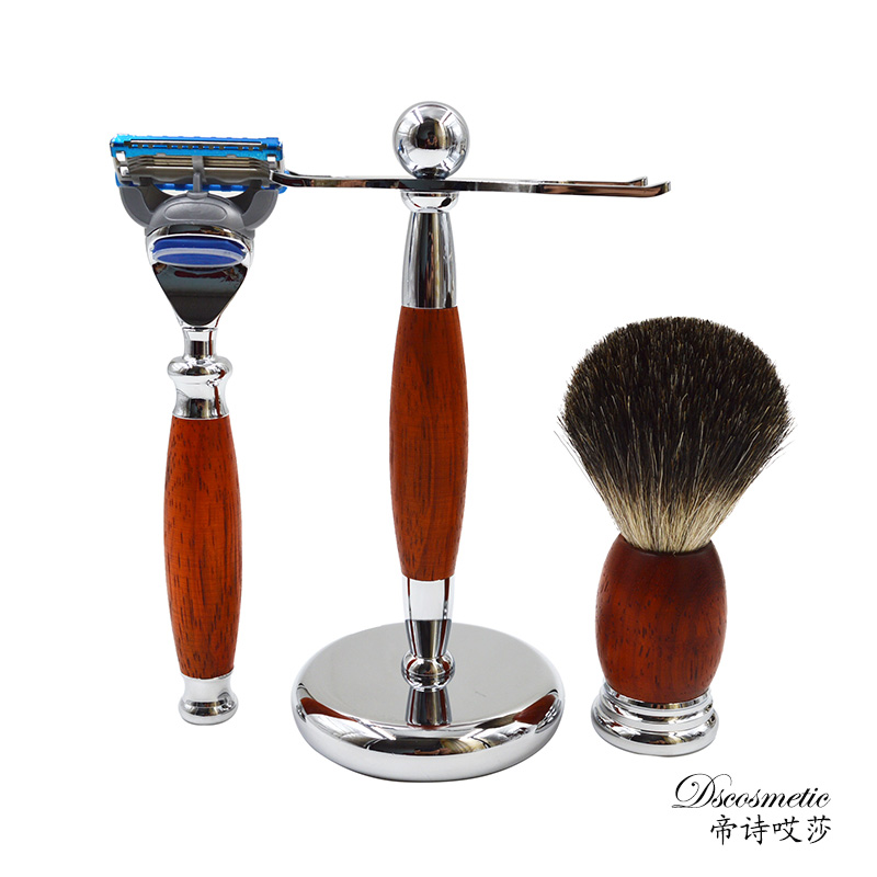 New Wood Pure Badger Shaving Brush och Safety Razor set / kit