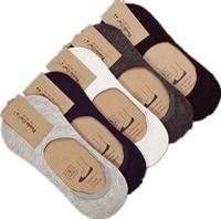 10 Pieces 5 Pairs New Cotton Men Invisible Socks Men Socks Silicone Anti Skid Pure Color