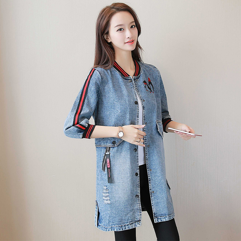 7583ecface3 Plus Size 3XL New Women s Long Denim Jackets Coats Spring Autumn Outerwear  Fashion Single Breasted Casual Overcoat Streetwear-in Basic Jackets from  Women s ...