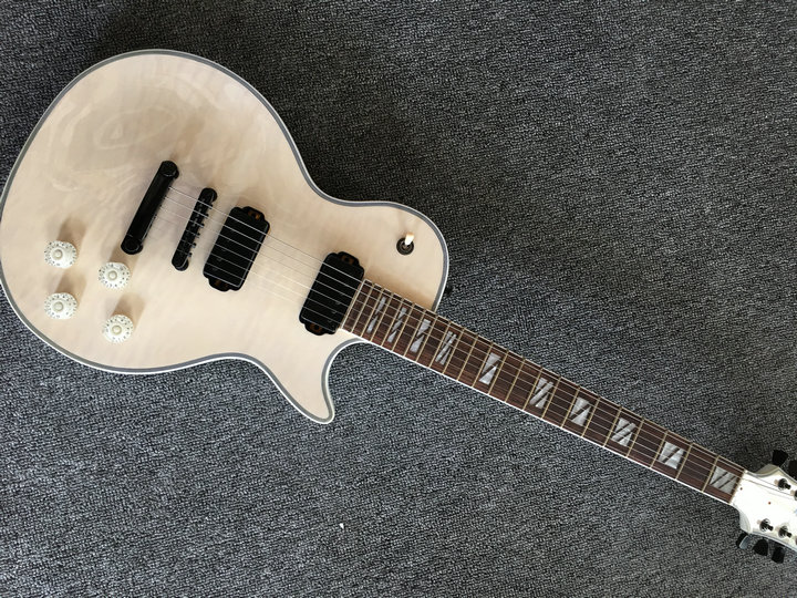 New arrival LP Custom hyaline white electric guitar, quilted maple top LP guitar,black hardware,Free shipping gisten high quality custom lp electric guitar transparent black burst maple top active pickup electric guitar free shipping