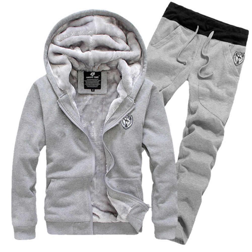 Толстые теплые спортивные костюмы для мужчин модные теплые бархатные Мужская толстовка комплект мужской спортивная одежда зима серый красный черный 3XL куртка пальто + брюки
