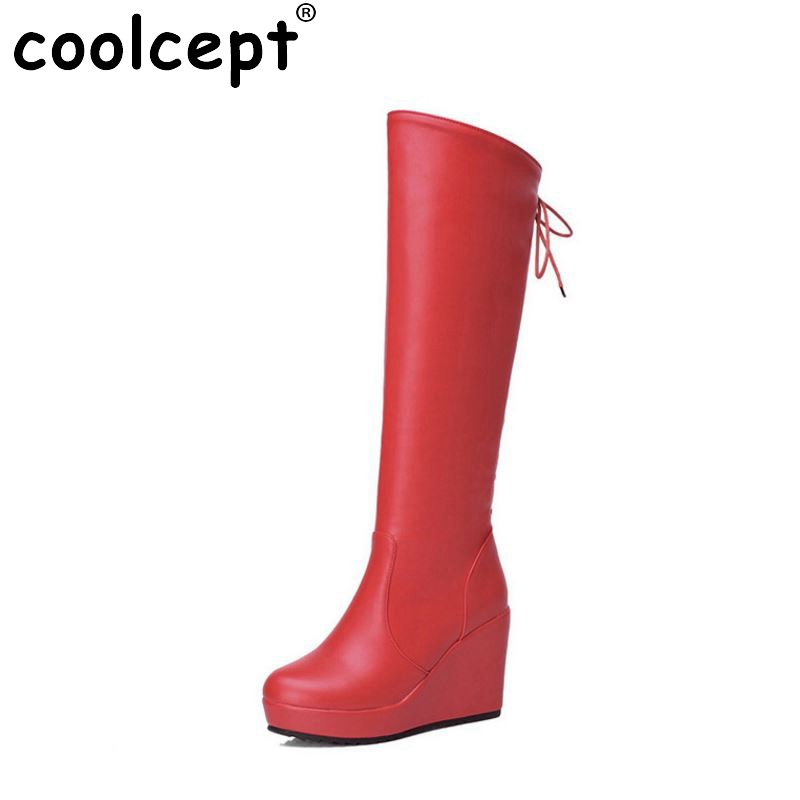 women wedges over knee boots ladies winter snow boot warm botas vintage fashion quality footwear heels shoes P19811 size 34-39