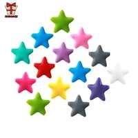 BOBO. Pudełko 10 sztuk gwiazda silikonowe koraliki dziecko ząbkowanie silikon bez BPA ząbkowanie koraliki Food Grade do żucia dla dzieci ząbkowanie naszyjnik DIY
