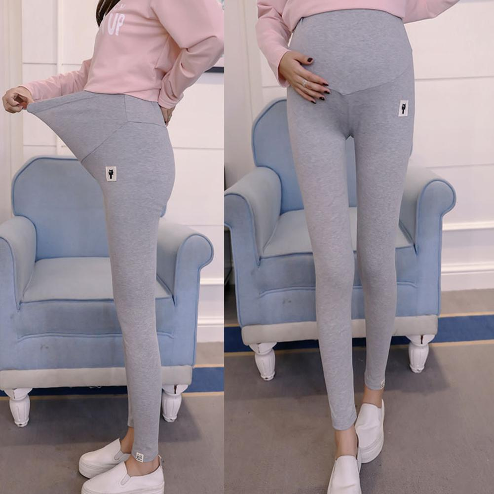 Solid Color Womens Clothes Abdomen Support Trousers Maternity Leggings for Pregnant Woman with Cute Kitten Pattern in Leggings from Mother Kids