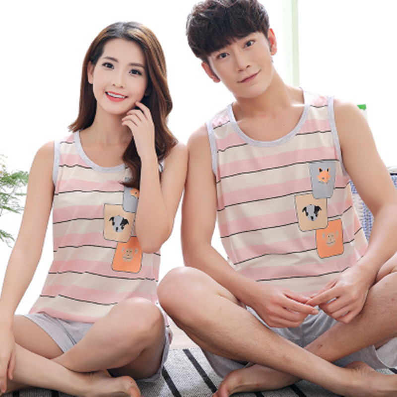 Sale Couple Pajamas Set Summer Men And Women Sleeveless Pyjamas Vest Lovers Sleepwear Plus Size 4XL Nightwear Home Clothing