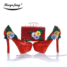 Women wedding shoes Bride red crystal party dress shoes with matching bags High heels platform shoes free shipping