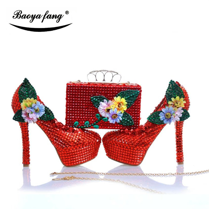 Women wedding shoes Bride red crystal party dress shoes with matching bags High heels platform shoes free shipping women wedding shoes with matching bags yellow pearl bride party dress shoe and bag set high heels platform shoes ladies shoes