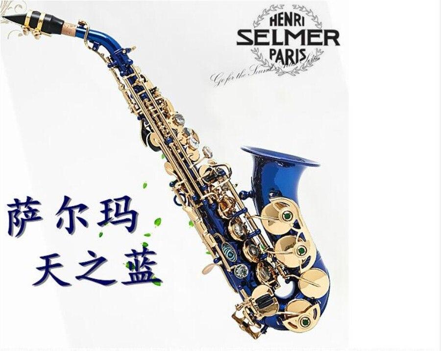 Blue Musical saxophone France Selmer 54 Bflat sax musical instrument Child Adult Soprano saxophone gold Lacquer Professional france henri selmer bb tenor saxophone instruments reference 36 drop b saxophone surface gold lacquer pink body professional sax