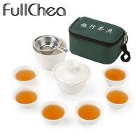 Fullcheaセット中国旅行カンフーティーセットセラミックポータブルティーカップ磁器サービスgaiwan茶カップマグの茶道ティーポッ