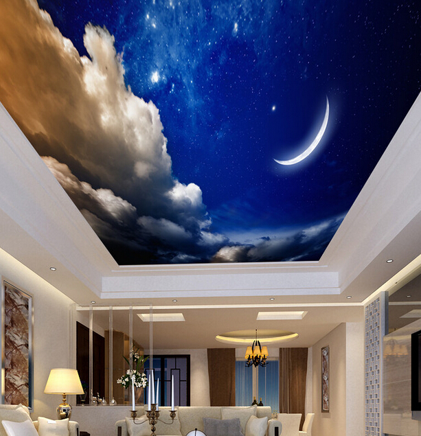 Custom ceiling wallpaper the night sky moon mural for the for Ceiling sky mural