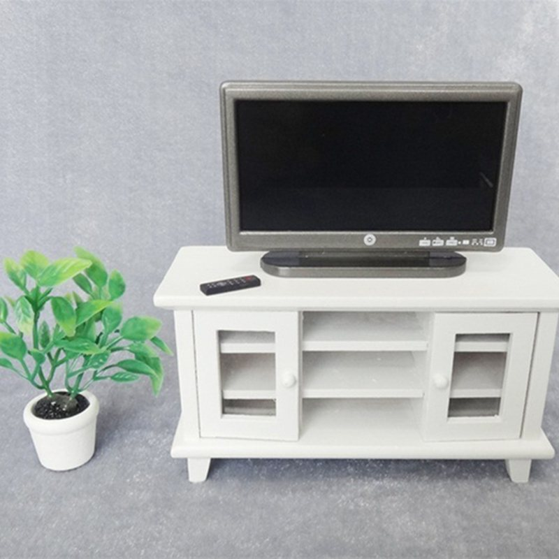 1:12 Dollhouse Miniature TV and Remote Cute mini Grey Flat-Panel LCD Television Living Room Furniture Accessory LTT9843