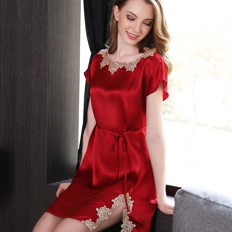 Genuine Silk Nightgowns Red Female Summer New Heavy Silk Sleepwear Women Short Sleeve Sexy Lace Elegant Sling Sleeping Dress