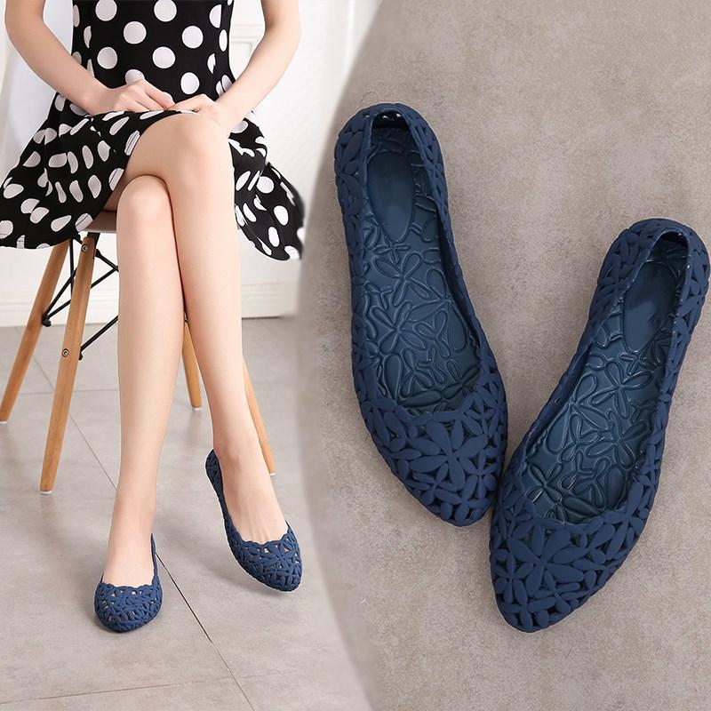 EOEODOIT Women Rain Flats Beach Swim Pool Sandal Cozy Slip Resistance Flat Heel Pointed Toe Cutout Jelly Shoes Durable Wear
