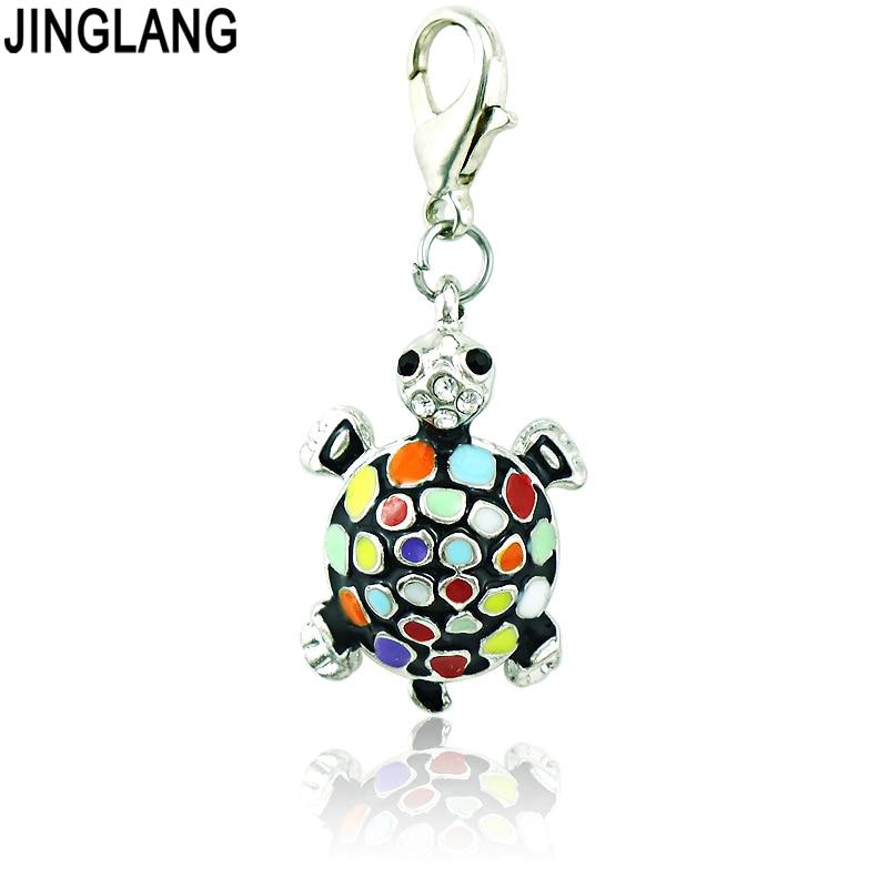 Jinglang moda animales langosta Amuletos esmalte rhinestone tortuga ...