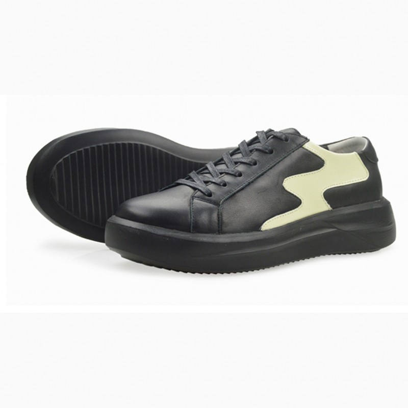 Hombre Plataforma Homens Black Plus Cores De Misturadas Low Ocasionais Size Calçado Couro Top Sneakers Lisas 45 Zapatos Moda Dos Real Sapatas Lace Up BpFUUS
