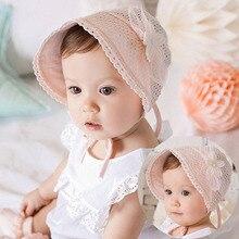 Primavera Verano lindo princesa bebé Sombrero con lazo de Color sólido de  encaje bebé niña de niño niños playa sombreros de cubo. 90d89eb4048