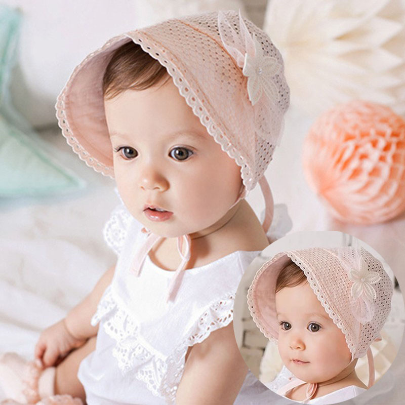 Girls' Baby Clothing Accessories Baby Girl Princess Cap Summer Baby Sun Hat Bow Solid Color Lace Hollow Toddler Kids Beach Bucket Hats New