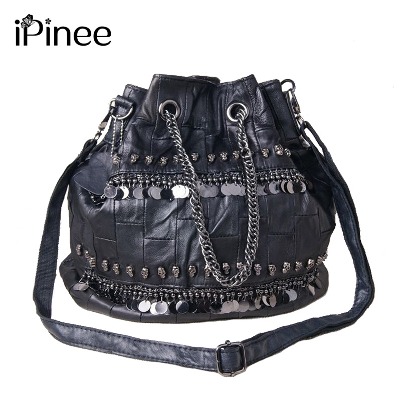 iPinee Famous Brand Women Messenger Bag 2018 Genuine Leather Handbags Crossbody Sequined And Skull Decoration anime rick and morty backpack schoolbag casual teenagers men women student canvas school bags travel bags knapsack mochila