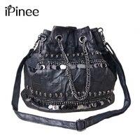 iPinee Famous Brand Women Messenger Bag 2019 Genuine Leather Handbags Crossbody Sequined And Skull Decoration